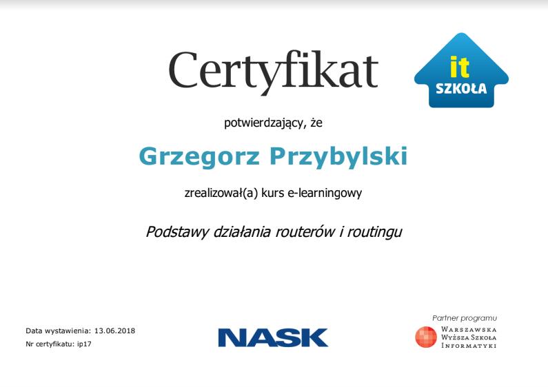 grzegorz certyfikat